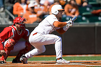 Texas Longhorn Jonathan Walsh bunts against Nebraska on Sunday March 21st, 2100 at UFCU Dish-Falk Field in Austin, Texas.  (Photo by Andrew Woolley / Four Seam Images)