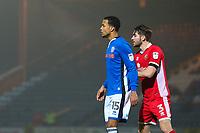 Rochdale's Joe Thompson (left) closely marked by Walsall's Luke Leahy (right) during the Sky Bet League 1 match between Rochdale and Walsall at Spotland Stadium, Rochdale, England on 23 December 2017. Photo by Juel Miah / PRiME Media Images.