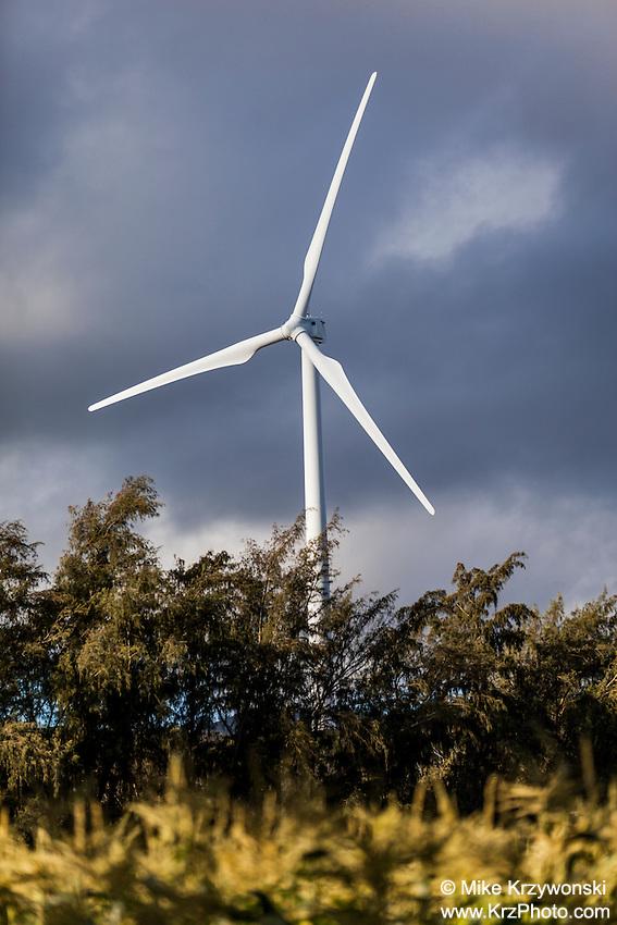 Wind turbine at the Kahuku Wind Farm, Kahuku, Oahu, Hawaii