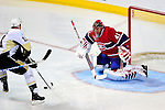 6 February 2010: Montreal Canadiens' goaltender Jaroslav Halak makes a first period save against the Pittsburgh Penguins' center Jordan Staal at the Bell Centre in Montreal, Quebec, Canada. The Canadiens defeated the Penguins 5-3. Mandatory Credit: Ed Wolfstein Photo