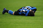 Cristiano Biraghi of Inter lays holding his face after colliding with an opponent during the Coppa Italia match at Giuseppe Meazza, Milan. Picture date: 12th February 2020. Picture credit should read: Jonathan Moscrop/Sportimage
