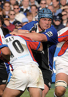 20,05/06 Powergen Cup Bath Rugby vs Bristol Rugby, Bath's matt Stevens attacking breaks around the of Danny Gray. Bath, ENGLAND, 01.10.2005   © Peter Spurrier/Intersport Images - email images@intersport-images..