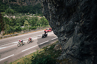 Thomas de Gendt (BEL/Lotto-Soudal) &amp;  Thomas Scully (NZL/EducationFirst-Drapac) forming the first breakaway group<br /> <br /> Stage 13: Bourg d'Oisans &gt; Valence (169km)<br /> <br /> 105th Tour de France 2018<br /> &copy;kramon