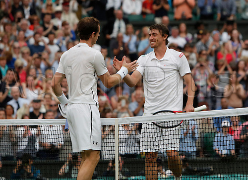 02.07.2016. All England Lawn Tennis and Croquet Club, London, England. The Wimbledon Tennis Championships Day Six. Number 2 seed, Andy Murray (GBR) shakes hands with John Millman (AUS) after Murray wins their match in Straight sets.