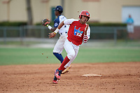 Justin Javier Colon Jaime (22) during the WWBA World Championship at the Roger Dean Complex on October 11, 2019 in Jupiter, Florida.  Justin Javier Colon Jaime attends Montverde Academy in Clermont, FL and is Uncommitted.  (Mike Janes/Four Seam Images)