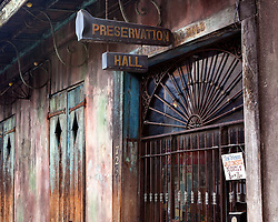Famous Preservation Hall in the New Orleans French Quarter.