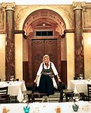 AUSTRIA, Vienna, a portrait of owner Veronika Doppler in the dining room of her restaurant Vestibul