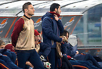 Calcio, ottavi di finale di Coppa Italia Tim: Roma vs Sampdoria. Roma, stadio Olimpico, 9 gennaio 2014.<br /> AS Roma forward Francesco Totti looks on during the Italy Cup round of sixteen football match between AS Roma and Sampdoria at Rome's Olympic stadium, 9 January 2014.<br /> UPDATE IMAGES PRESS/Isabella Bonotto
