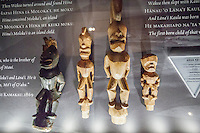 Hawaiian wood-carved images on display at the Bishop Museum, Honolulu, O'ahu.