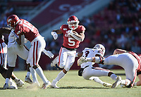 NWA Democrat-Gazette/CHARLIE KAIJO Arkansas running back Rakeem Boyd (5) carries the ball, Saturday, November 2, 2019 during the second quarter of a football game at Donald W. Reynolds Razorback Stadium in Fayetteville. Visit nwadg.com/photos to see more photographs from the game.