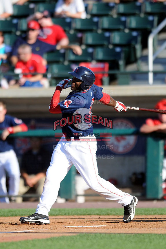 Lowell Spinners outfielder Kendrick Perkins #12 during a game versus the Tri_City Valley Cats at LeLacheur Park In Lowell, Massachusetts on July 1, 2012.   (Ken Babbitt/Four Seam Images)