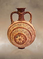 Minoan decorated flask with concentric decorative bands design , Konssos  Temple Tomb 1400-1250 BC; Heraklion Archaeological Museum.