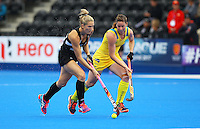 Stacey Michelsen of the Black Sticks heads forward during the Women's Champions Trophy match between New Zealand v Australia at Lee Valley Hockey Centre, Olympic Park, England on 19 June 2016. Photo by Steve McCarthy / PRiME Media Images.