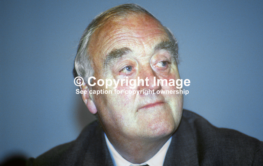 Lord Whitelaw aka William Whitelaw, deputy leader, Conservative Party, UK, September 1986, 19861005WW<br /> <br /> Copyright Image from Victor Patterson, 54 Dorchester Park, Belfast, UK, BT9 6RJ<br /> <br /> t1: +44 28 9066 1296 (from Rep of Ireland 048 9066 1296)<br /> t2: +44 28 9002 2446 (from Rep of Ireland 048 9002 2446)<br /> m: +44 7802 353836<br /> <br /> e1: victorpatterson@me.com<br /> e2: victorpatterson@gmail.com<br /> <br /> The use of my copyright images is subject to my Terms &amp; Conditions.<br /> <br /> It is IMPORTANT that you familiarise yourself with them. They are available on my website at www.victorpatterson.com.<br /> <br /> None of my copyright images may be used on a website unless they are visibly watermarked, i.e. &copy; Victor Patterson within the body of the visible image. Metadata denoting my copyright must NOT be deleted. <br /> <br /> Web use is extra at currently recommended NUJ rates.
