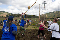 Teams at the 2011 Mud Volleyball Tournament in Laclede, ID sponsored by the Kodiak Bar. .(©Matt Mills McKnight/2011)