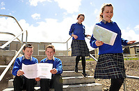 8-6-2012: Katie O'Neill, Sarah Osterloh, Mark Murphy and Adrian Murphy, Junior cert students from Miltown Presentation Secondary School in County Kerry reviewing the Geography paper on Friday.<br /> Picture by Don MacMonagle