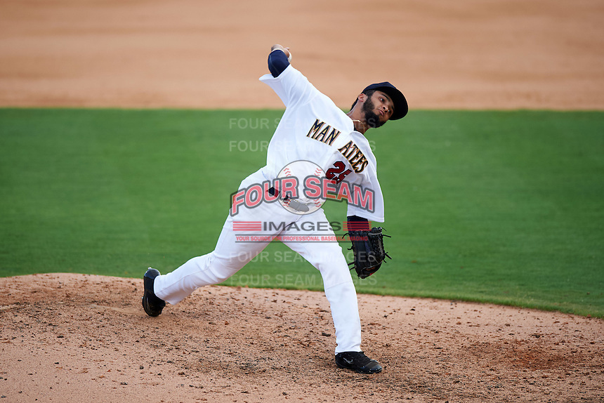 Brevard County Manatees relief pitcher Marcos Diplan (25) during a game against the Daytona Tortugas on August 14, 2016 at Space Coast Stadium in Viera, Florida.  Daytona defeated Brevard County 9-3.  (Mike Janes/Four Seam Images)