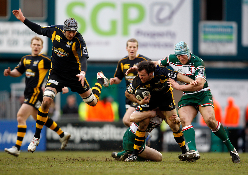 Photo: Richard Lane/Richard Lane Photography..Leicester Tigers v London Wasps. Guinness Premiership. 29/03/2008. Wasps' Fraser Waters is tackled by Tigers' Jordan Crane.