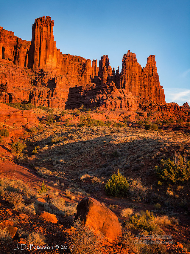 Fisher Towers, Utah ©2017 James D Peterson.  These magnificent sandstone towers are upstream from Moab, Utah and not far from the Colorado River.
