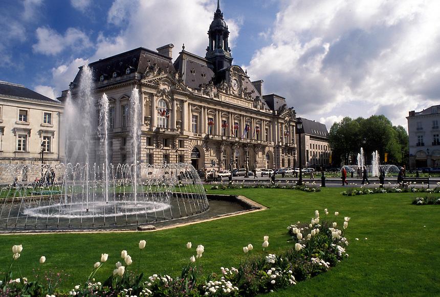 Tours, France, Indre-et-Loire, Loire Valley, Loire Castle Region, Centre, Europe, Hotel de Ville, City Hall in the city of Tours.
