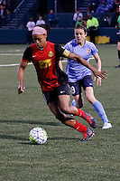 Rochester, NY - Saturday May 21, 2016: Western New York Flash forward Jessica McDonald (14) and Sky Blue FC defender Kelley O'Hara (19). The Western New York Flash defeated Sky Blue FC 5-2 during a regular season National Women's Soccer League (NWSL) match at Sahlen's Stadium.