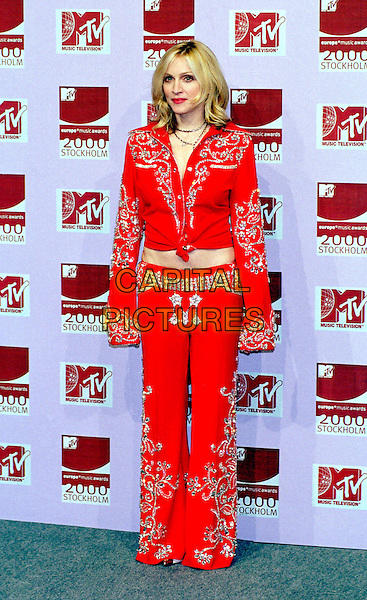 MADONNA.MTV Awards.Ref: PL.full length, full-length, red, cowgirl, western style outfit, knotted.www.capitalpictures.com.sales@capitalpictures.com.©Capital Pictures