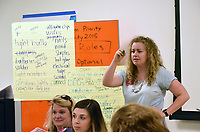 NWA Democrat-Gazette/FLIP PUTTHOFF <br /> Sarah Weeden (right) with the Scott Family Amazeum teaches a lesson on Wednesday June 6 2018 at Maker Camp.