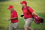 SUGAR GROVE, IL - MAY 29: Head Coach Chris Malloy and Braden Thornberry of Ole Miss share a moment during the Division I Men's Golf Individual Championship held at Rich Harvest Farms on May 29, 2017 in Sugar Grove, Illinois. Thornberry won the individual national title with a -11 score. (Photo by Jamie Schwaberow/NCAA Photos via Getty Images)