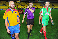 The match officials walk off after the Heartland Championship preseason rugby match between Horowhenua Kapiti and Wairarapa Bush at Westpac Stadium in Wellington, New Zealand on Saturday, 5 May 2018. Photo: Dave Lintott / lintottphoto.co.nz