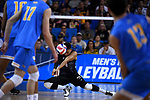LOS ANGELES - MAY 5:  Jordan Molina #9 of the Long Beach State 49ers digs the ball against the UCLA Bruins during the Division 1 Men's Volleyball Championship on May 5, 2018 at Pauley Pavilion in Los Angeles, California. The Long Beach State 49ers defeated the UCLA Bruins 3-2. (Photo by John W. McDonough/NCAA Photos via Getty Images)
