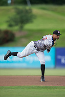 Kannapolis Intimidators starting pitcher Blake Hickman (33) follows through on his delivery against the Delmarva Shorebirds at Kannapolis Intimidators Stadium on June 30, 2017 in Kannapolis, North Carolina.  The Shorebirds defeated the Intimidators 6-4.  (Brian Westerholt/Four Seam Images)