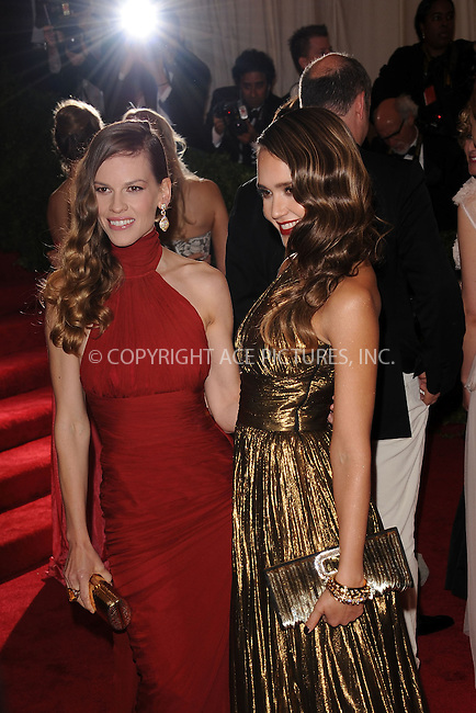 "WWW.ACEPIXS.COM . . . . . .May 7, 2012...New York City....Hilary Swank and Jessica Alba attending the ""Schiaparelli and Prada: Impossible Conversations"" Costume Institute Gala at The Metropolitan Museum of Art in New York City on May 7, 2012  in New York City ....Please byline: KRISTIN CALLAHAN - ACEPIXS.COM.. . . . . . ..Ace Pictures, Inc: ..tel: (212) 243 8787 or (646) 769 0430..e-mail: info@acepixs.com..web: http://www.acepixs.com ."