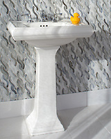 Cable Knit Medium, a waterjet  jewel glass mosaic, shown in Alabaster, is part of the Tissé® collection for New Ravenna.