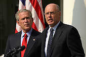 United States President George W. Bush announces his nomination of Henry M. Paulson, Jr. (right), Chairman and CEO of Goldman Sachs, to replace John W. Snow as U.S. Treasury Secretary, in the Rose Garden of the White House in Washington, DC, May 30, 2006.<br /> Credit: Martin H. Simon - Pool via CNP