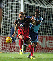 Jack McBean of Coventry City holds off Anthony Stewart of Wycombe Wanderers during the The Checkatrade Trophy Southern Group D match between Wycombe Wanderers and Coventry City at Adams Park, High Wycombe, England on 9 November 2016. Photo by Andy Rowland.