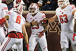 Wisconsin Badgers running back Jonathan Taylor (23) celebrates a touchdown with teammates during an NCAA College Big Ten Conference football game against the Minnesota Golden Gophers Saturday, November 25, 2017, in Minneapolis, Minnesota. The Badgers won 31-0. (Photo by David Stluka)