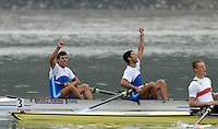 Ottensheim, AUSTRIA.  A  Final,GRE JM2-, Bow Vasileios NTALLAMAGKAS and Apostolos LAMPRIDIS, Gold Medallist, at the 2008 FISA Senior and Junior Rowing Championships,  Linz/Ottensheim. Saturday,  26/07/2008.  [Mandatory Credit: Peter SPURRIER, Intersport Images] Rowing Course: Linz/ Ottensheim, Austria