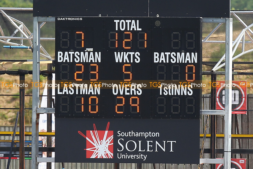 The scoreboard shows that Essex are 121 for 5 wickets, chasing 606 runs to win - Hampshire CCC vs Essex CCC - LV County Championship Division Two Cricket at the Ageas Bowl, West End, Southampton - 17/06/14 - MANDATORY CREDIT: Gavin Ellis/TGSPHOTO - Self billing applies where appropriate - 0845 094 6026 - contact@tgsphoto.co.uk - NO UNPAID USE