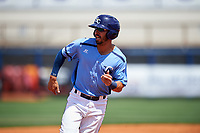 Charlotte Stone Crabs shortstop Peter Maris (3) running the bases during a game against the Lakeland Flying Tigers on April 16, 2017 at Charlotte Sports Park in Port Charlotte, Florida.  Lakeland defeated Charlotte 4-2.  (Mike Janes/Four Seam Images)