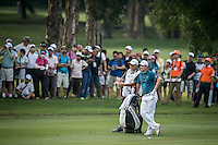 Justin Rose of England in act at the third round of the Hong Kong Open golf tournament in Fanling Golf Club, Hong Kong,  24 Oct., 2015