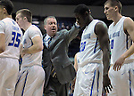 February 14, 2015 - Colorado Springs, Colorado, U.S. -  Air Force head coach, Dave Pilipovich, encourages his Falcons during an NCAA basketball game between the UNLV Runnin' Rebels and the Air Force Academy Falcons at Clune Arena, U.S. Air Force Academy, Colorado Springs, Colorado.  Air Force defeats UNLV 76-75.