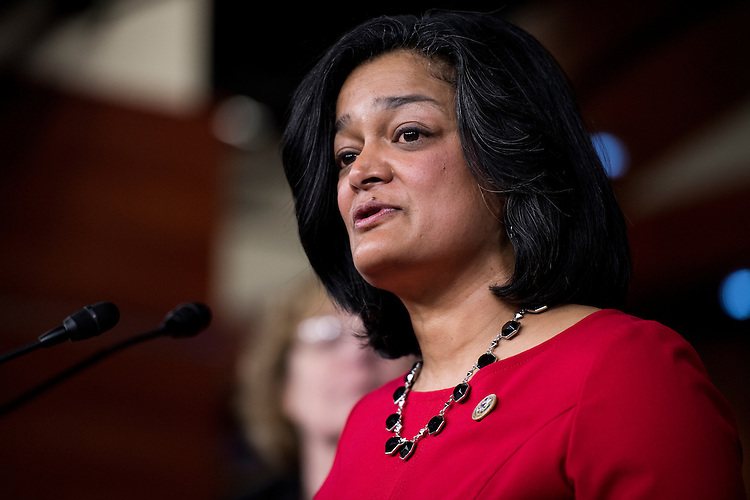 "UNITED STATES - FEBRUARY 15: Rep. Pramila Jayapal, D-Wash., participates in the House Democrats' news conference ""to hold President Trump accountable for his failed vision for America that has weakened our national security and dishonors our values as a nation"" in the Capitol on Wednesday, Feb. 15, 2017. (Photo By Bill Clark/CQ Roll Call)"