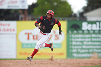 Batavia Muckdogs second baseman J.C. Millan (4) running the bases during a game against the West Virginia Black Bears on June 25, 2017 at Dwyer Stadium in Batavia, New York.  Batavia defeated West Virginia 4-1 in nine innings of a scheduled seven inning game.  (Mike Janes/Four Seam Images)