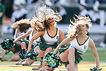 Baylor cheerleaders in action during the game between the Iowa State Cyclones and the Baylor Bears at the McLane Stadium in Waco, Texas.