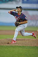 Peoria Chiefs Harley Holt (39) throws during the Midwest League game against the Peoria Chiefs at Community Field on June 9, 2016 in Burlington, Iowa.  Peoria won 6-4.  (Dennis Hubbard/Four Seam Images)