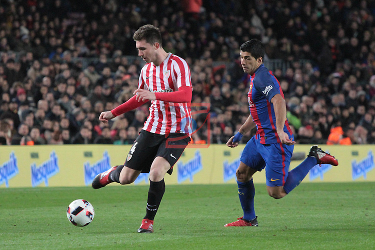 Copa del Rey 2016/2017 - 1/8 final vuelta.<br /> FC Barcelona vs Athletic Club: 3-1.<br /> Laporte vs Luis Suarez.