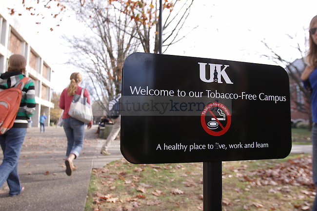 Signs around campus have been put in place to remind students and visitors that UK is now a Tobacco-Free Campus. The tobacco ban goes into effect on Wednesday Nov. 18th. Photo by Scott Hannigan | Staff
