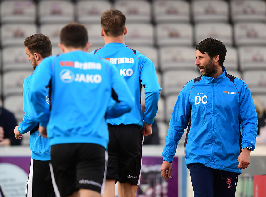 Lincoln City manager Danny Cowley, right, during the pre-match warm-up <br /> <br /> Photographer Chris Vaughan/CameraSport<br /> <br /> Vanarama National League - Lincoln City v Chester - Tuesday 11th April 2017 - Sincil Bank - Lincoln<br /> <br /> World Copyright &copy; 2017 CameraSport. All rights reserved. 43 Linden Ave. Countesthorpe. Leicester. England. LE8 5PG - Tel: +44 (0) 116 277 4147 - admin@camerasport.com - www.camerasport.com
