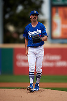 Rancho Cucamonga Quakes starting pitcher Tony Gonsolin (16) during a California League game against the Lake Elsinore Storm at LoanMart Field on May 20, 2018 in Rancho Cucamonga, California. Rancho Cucamonga defeated Lake Elsinore 6-2. (Zachary Lucy/Four Seam Images)