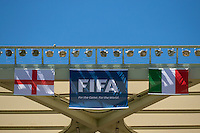 The England and Italy flags over the Arena da Amazonia